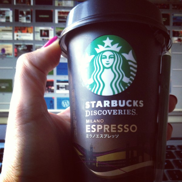"A Starbucks ""Milano"" Espresso drink in Japan, by Sara Rosso at Ms. Adventures in Italy"