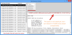 SSMS Tools Pack Tab Sessions History