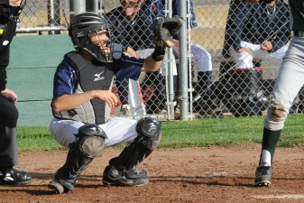 UM catcher #15 Brenden Hunter.  Democrat photo by Pat Dollins