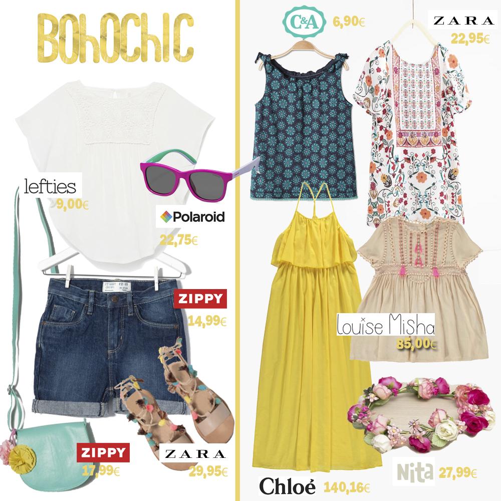 moda infantil mamis y bebes. Estilo bohochic. Prendas de Lefties, Polaroid, Zippy, Zara, C&A, Louise Misha , Chloé y Nita complementos