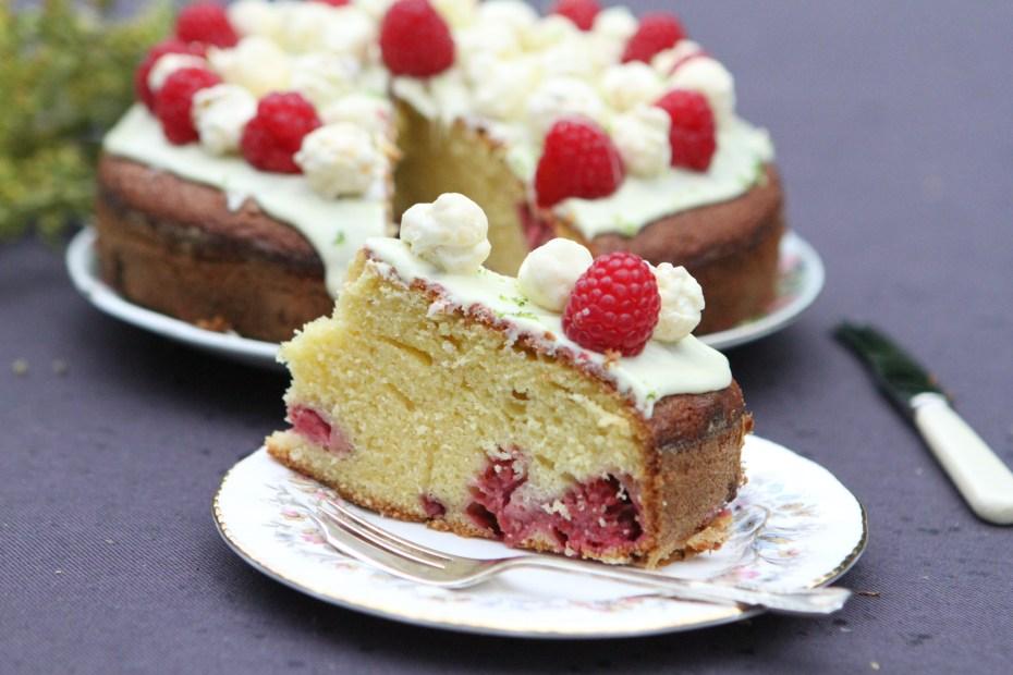 White Chocolate, Lime and Raspberry Cake with Yogurt Popcorn Topping