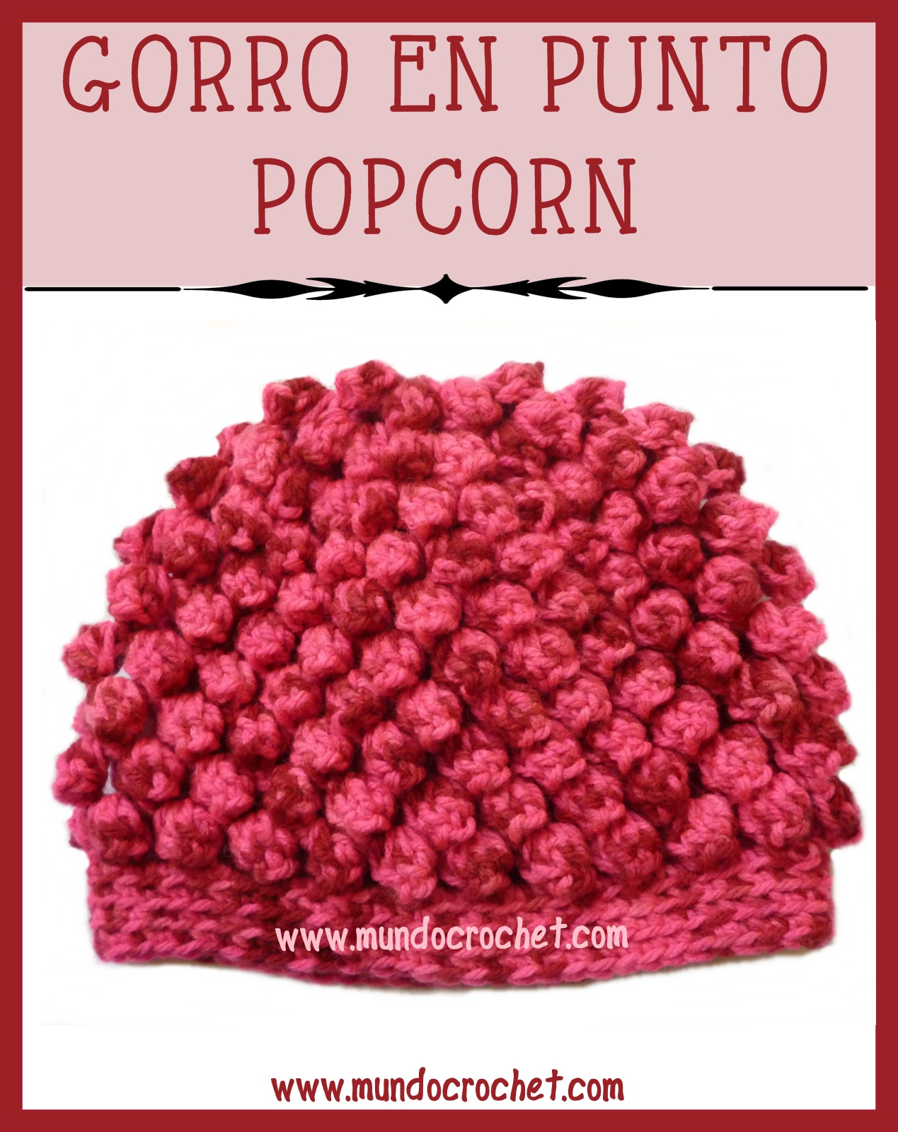gorro a crochet o ganchillo en punto popcorn. Black Bedroom Furniture Sets. Home Design Ideas