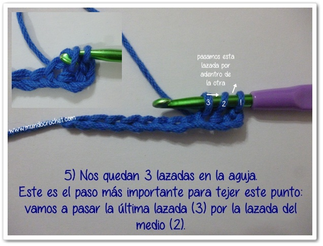 Punto medio vareta inclinado o herringbone half double crochet5
