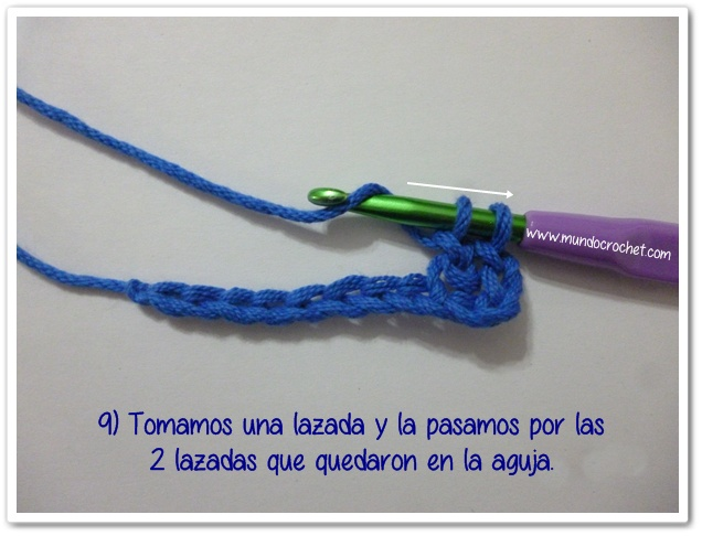 Punto vareta inclinado o herringbone double crochet9