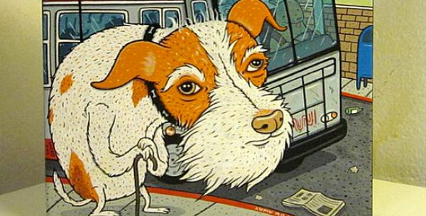 A sweet commissioned pet portrait of a Muni-riding dog