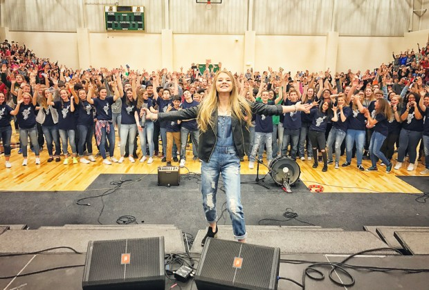 Tegan Marie performs for school - photo credit: Sweety High