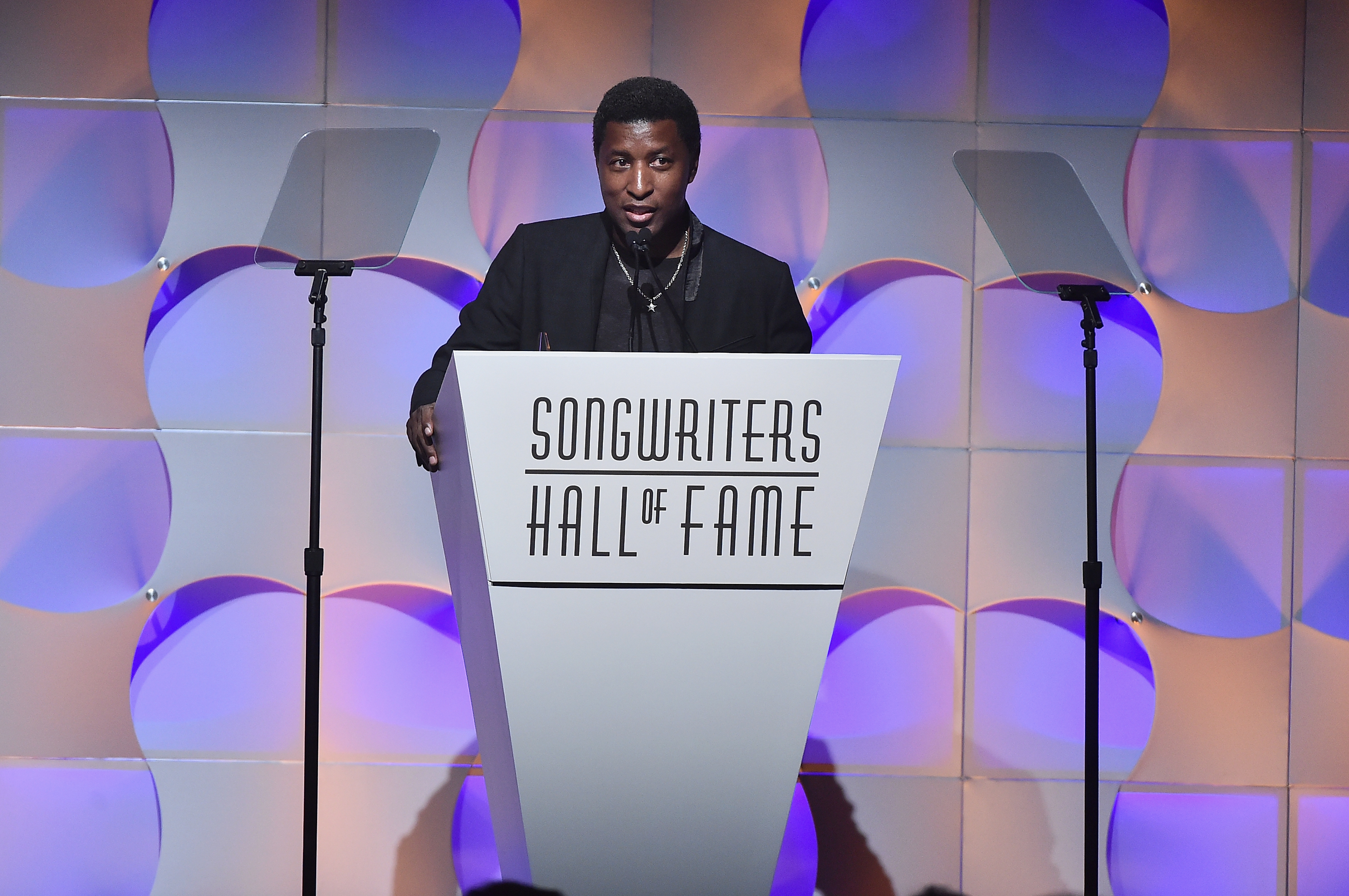 NEW YORK, NY - JUNE 15:  2017 Inductee Kenneth Babyface Edmonds accepts his award onstage at the Songwriters Hall Of Fame 48th Annual Induction and Awards at New York Marriott Marquis Hotel on June 15, 2017 in New York City.  (Photo by Theo Wargo/Getty Images for Songwriters Hall Of Fame) *** Local Caption *** Babyface Edmonds