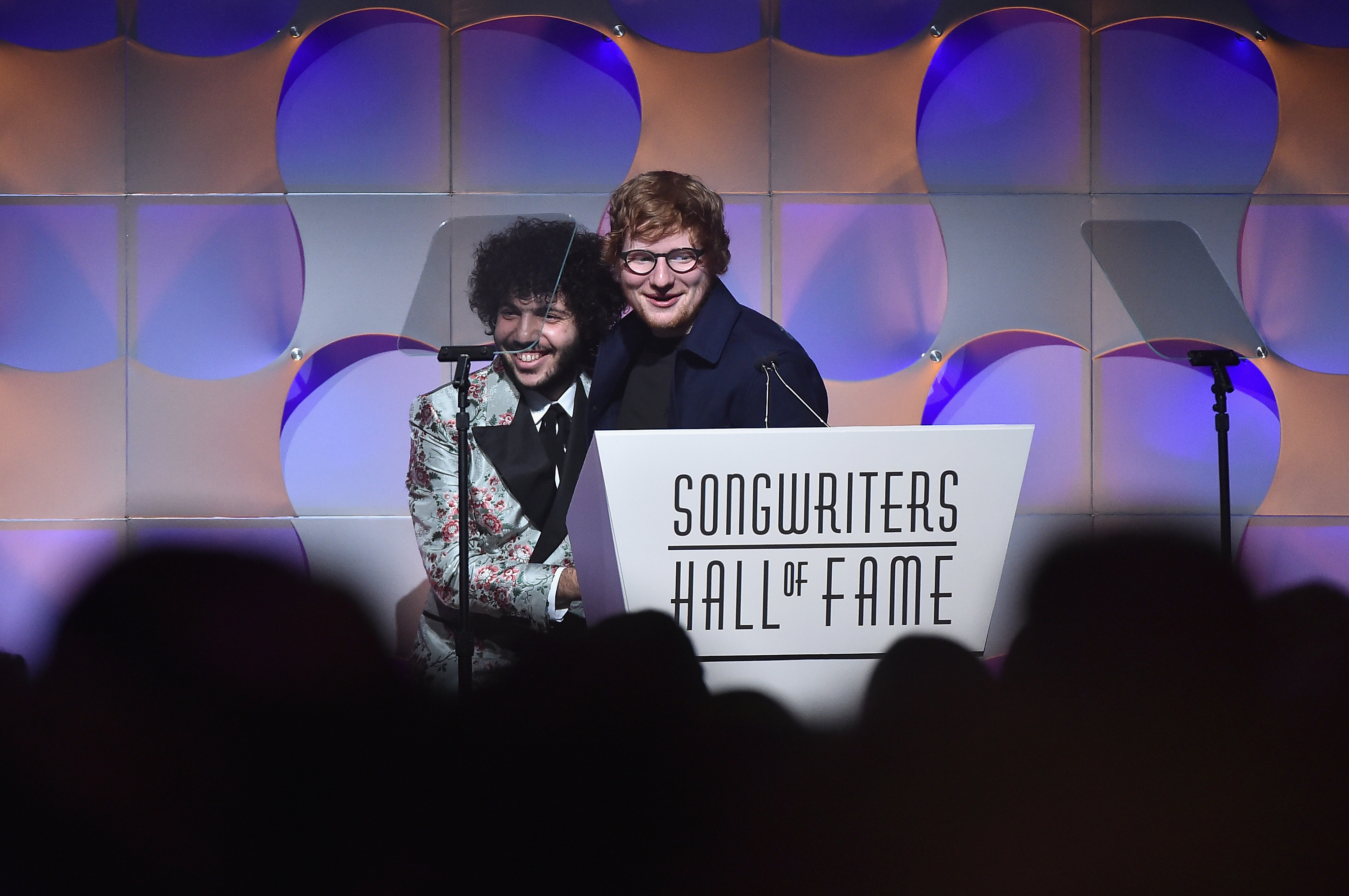 NEW YORK, NY - JUNE 15:  Benny Blanco presents the Hal David Starlight Award to Ed Sheehan onstage at the Songwriters Hall Of Fame 48th Annual Induction and Awards at New York Marriott Marquis Hotel on June 15, 2017 in New York City.  (Photo by Theo Wargo/Getty Images for Songwriters Hall Of Fame) *** Local Caption *** Ed Sheehan; Benny Blanco