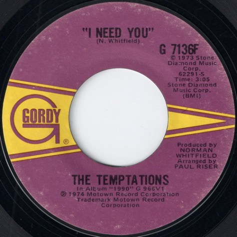 The Temptations - I Need You (Gordy Label)