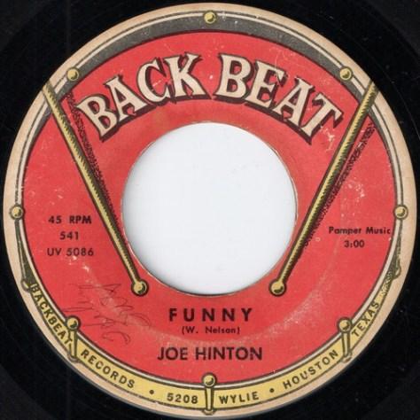 Joe Hinton - Funny (Back Beat # 541) Label Scan