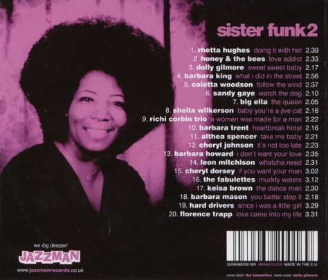 VA Sister Funk 2: The Sound Of The Unknown Soul Sisters {Compiled By Ian Wright} (Jazzman) 2007 CD Back Cover