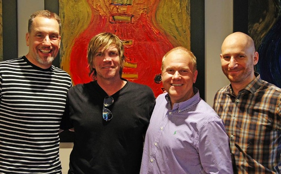 Pictured (L-R): Sony/ATV's Tom Luteran, Jack Ingram, Sony/ATV's Troy Tomlinson, Triple 8 Management's George Couri