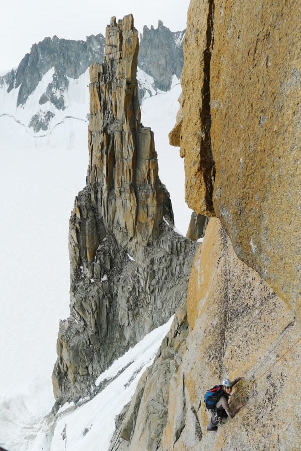 Gabby climbing at around half height on the Grand Capucin. Photo- Calum Muskett