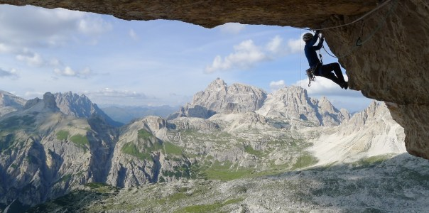 Dave leading on the spectacular crux pitch. Photo- Calum Muskett