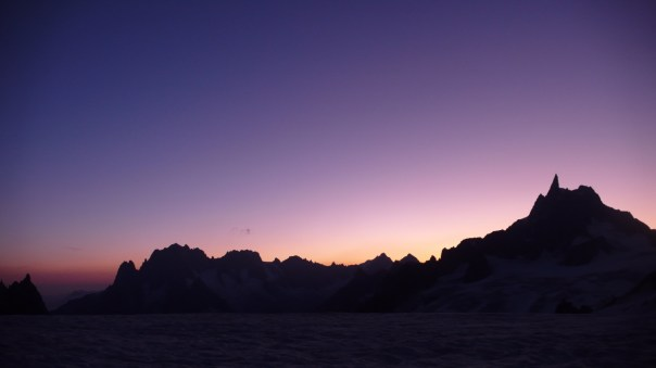 Sunset after descending the Grand Capucin. Photo- Francis Blunt