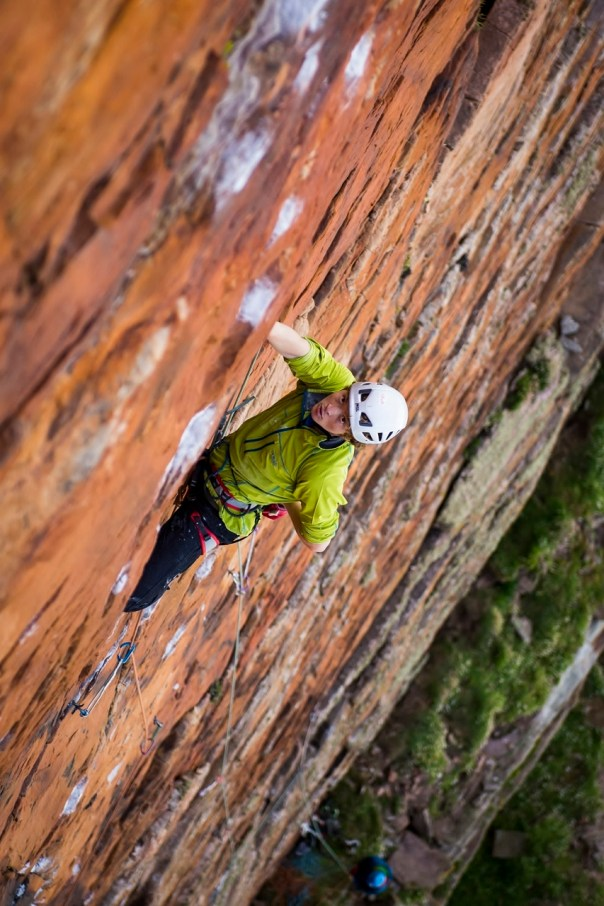 On the lead of the crux pitch on the first ascent of 'Dan Dare'. Photo- Ben Winston
