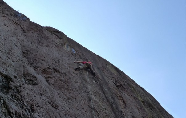 Making the first ascent of Juvenile Delinquent E7 6b. Photo- Ed Booth