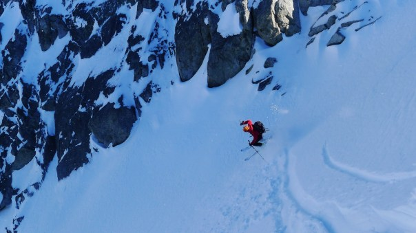 Ben Tibbetts descending Le Genepi. Photo- Calum Muskett