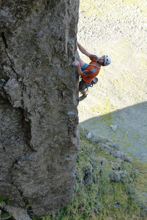 George Ullrich reaching the easier climbing of 'Authentic Desire', E7 6b. Photo- Calum Muskett