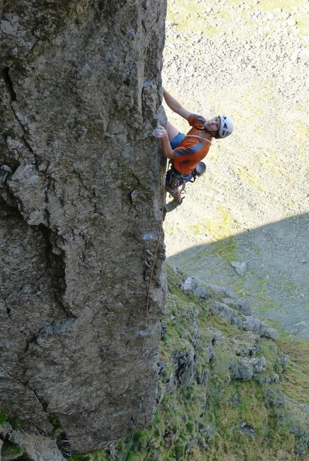 George Ullrich reaching the easier climbing of 'Authentic Desire', E7 6b. Photo- Calum Muskett