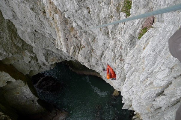 Steve Long seconding the crux pitch of Mister Softy. Photo- Calum Muskett