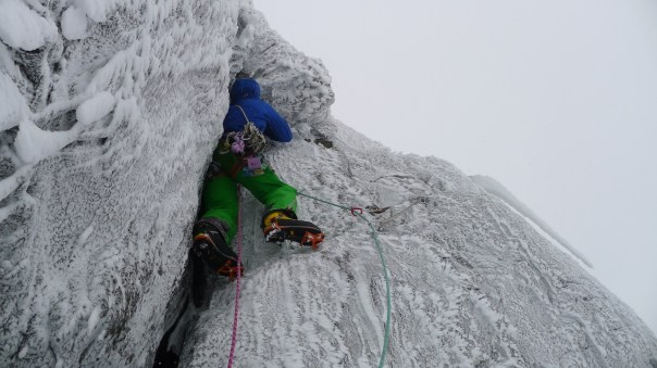 Andy on the second pitch of Travesty. Photo- Calum Muskett