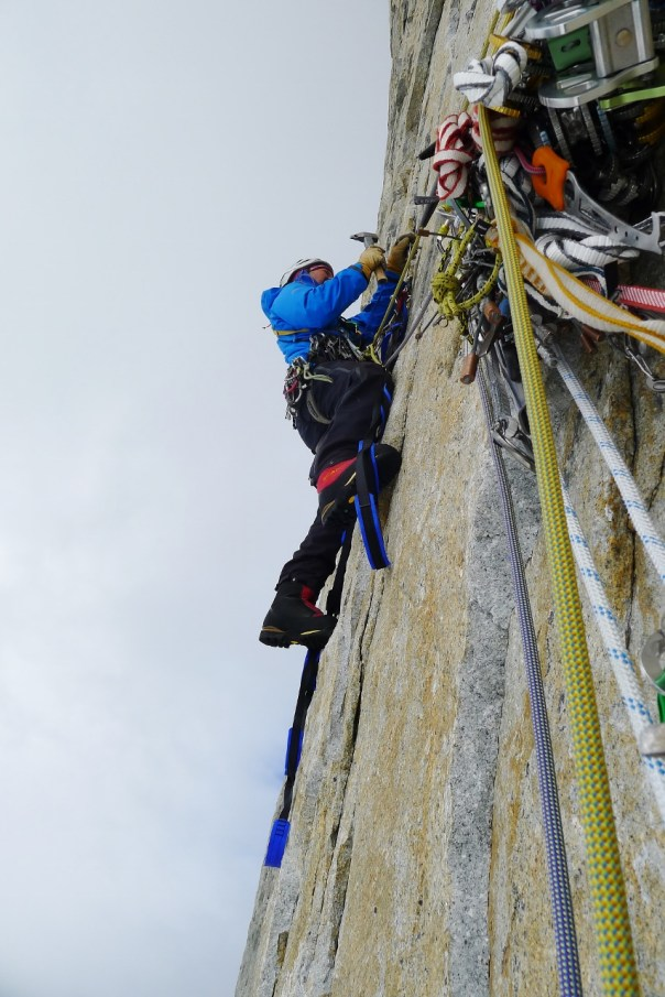 Twid working his way up an A3+ pitch. Photo- Calum Muskett