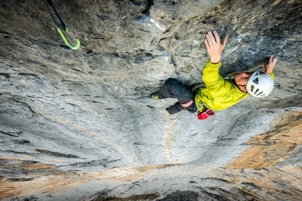 Leading the crux pitch of 'Paciencia' 8a, on the North Face of the Eiger. Photo- Alexandre Buisse