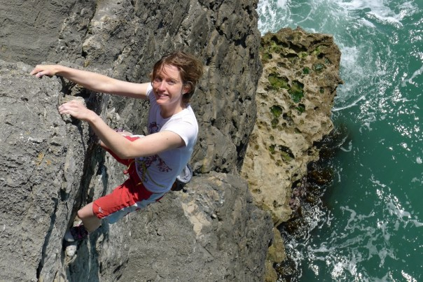 Gabby Lees enjoying 'Troubled Waters' at Swanage. Photo - Calum Muskett