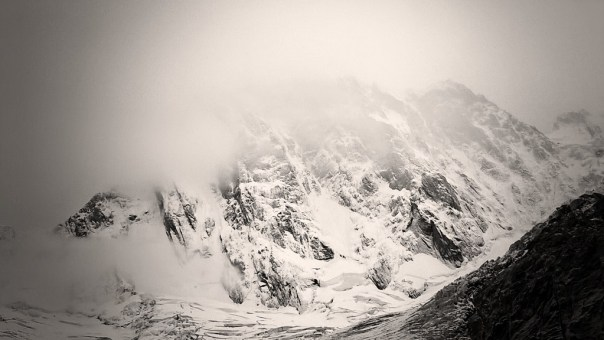The Grandes Jorasses looking very wintery after all the fresh snowfall. Photo - Calum Muskett