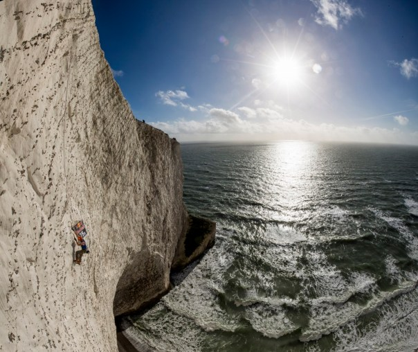 I was invited along to the first Red Bull white cliffs event on the Isle of Wight. It was a great opportunity to climb the huge cliffs here and experience chalk climbing first hand. Photo - Jon Griffith/Red Bull Content Pool