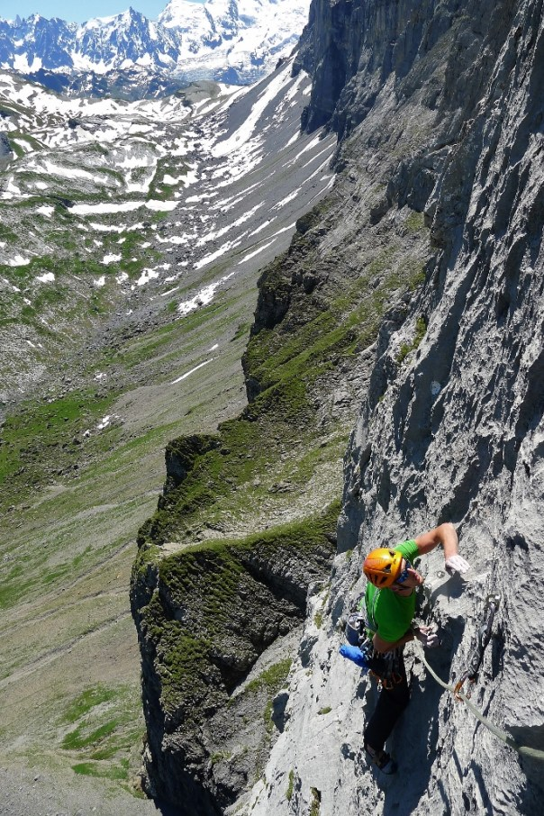 This summer I discovered the incredible climbing on Paroi d'Anterne. Fantastic climbing in an incredible setting. Photo - Calum Muskett