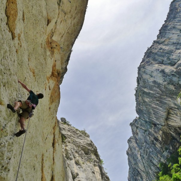 Dan Mcmanus sprinting up the first pitch of 'Les Naufrages', deep in the Verdon Gorge. Unfortunately, the Verdon was a poor choice for two ginger climbers in the height of summer! Photo - Calum Muskett