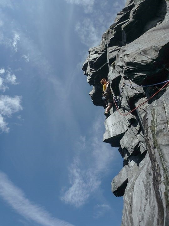 'Burning Bush' first ascent in Twll Mawr. Photo - Steve Long