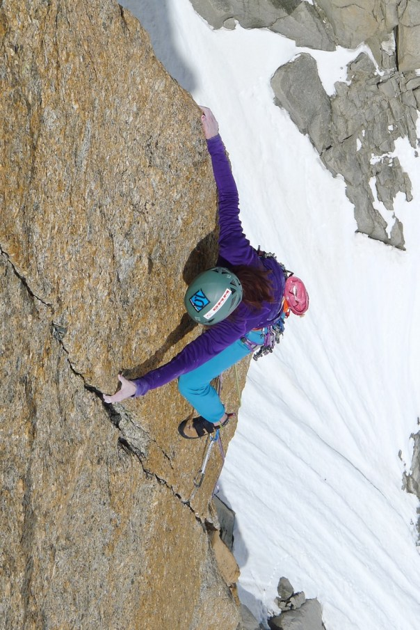 Emma Twyford enjoying the 'Bonatti-Tabou' on the Chandelle du Tacul. Photo - Calum Muskett