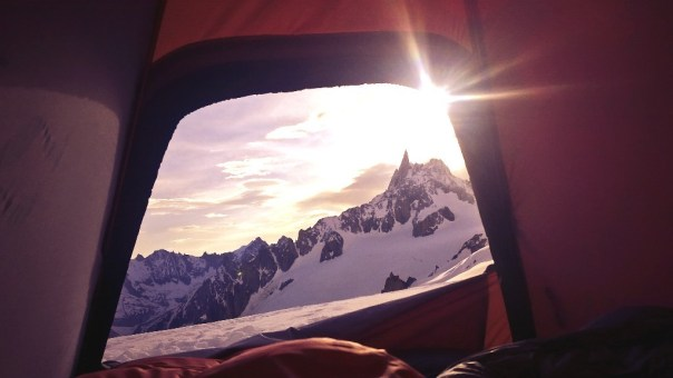 Morning view from the tent beneath the Grand Capucin. Photo - Calum Muskett