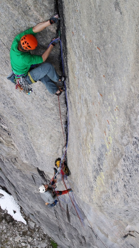Putting in some effort on the not so easy upper pitches of 'Disco 2000'. Photo - Dave Macleod