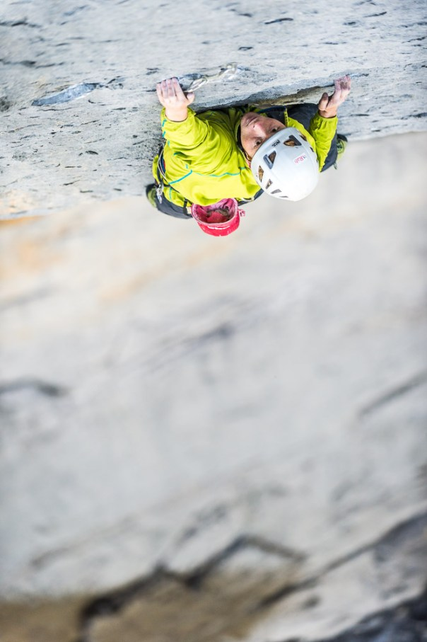 Leading the crux 8a pitch of Paciencia. Photo - Alexandre Buisse