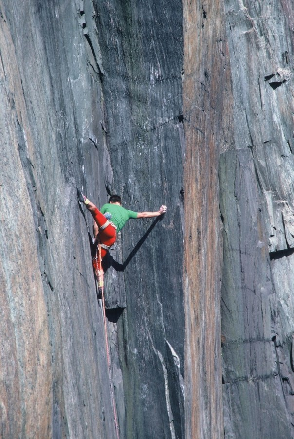 Johnny Dawes tackling the flamboyant series of moves necessary to climb the Quarryman groove. Photo - Paul Williams collection