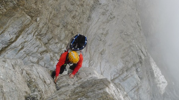 Dave Macleod scrambling up to the foot of the Rote Fluh. Photo - Calum Muskett