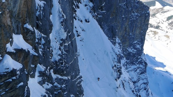 Climber's on the second ice field on the Heckmair route. Photo - Calum Muskett