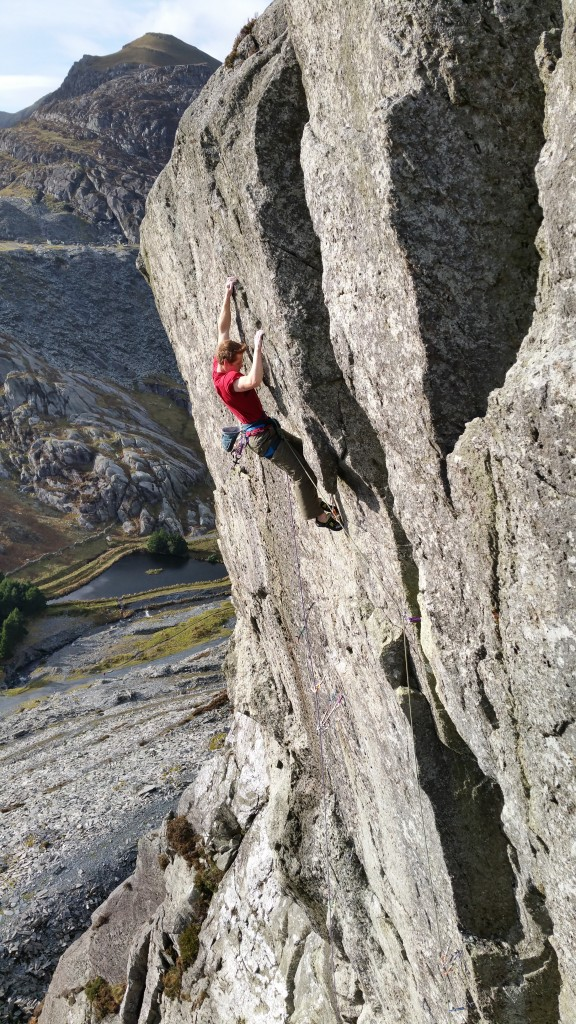Making the first ascent of 'Ginger Ninja' E7 6c on Craig y Clipiau. Photo - Adam Booth