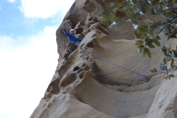 Ed Booth enjoying the funky rock of 'Jeef' 7b on a very cold day. Photo - Calum Muskett