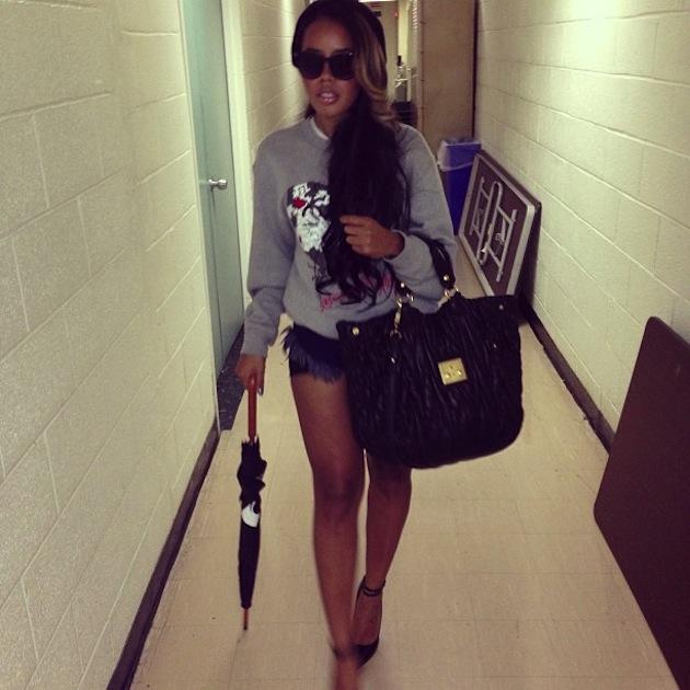 steal-her-fab-Angela-Simmons-Instagram-Denim-Cutoff-Shorts-+-Black-Ankle-Strap-Pumps-Grey-Graphic-Sweatshirt-therealmissdrea-dai