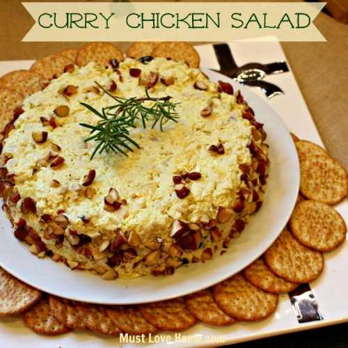 This is the absolute BEST Creamy Curry Chicken Appetizer that you will ever taste! This app is perfect for any get together and looks so fancy on your table or buffet! Serve it on toast like a sandwich and plain old chicken salad will no longer be welcome in your home! Try it today, or for your next party! You will be a hit and no one will believe you did not buy this from a gourmet store!