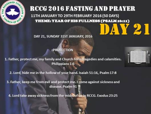 RCCG fasting 2016 DAY  21