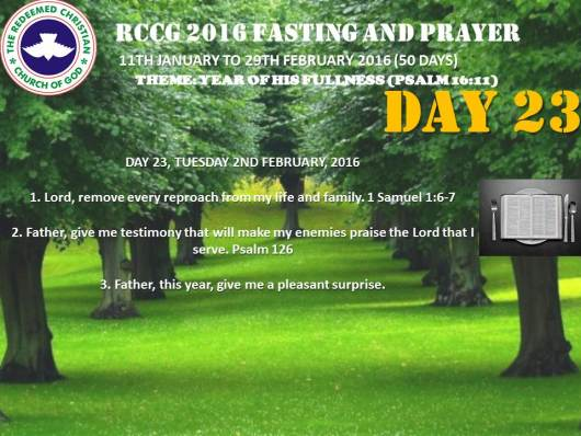 RCCG fasting 2016 DAY  23