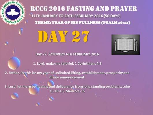 RCCG fasting 2016 DAY 27
