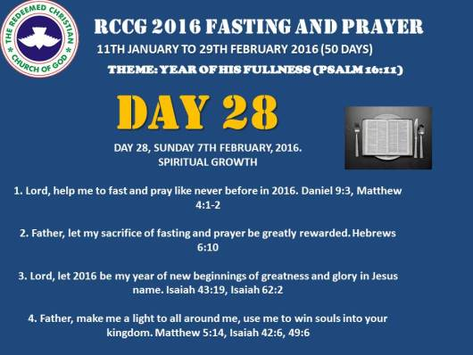 RCCG fasting 2016 DAY 28