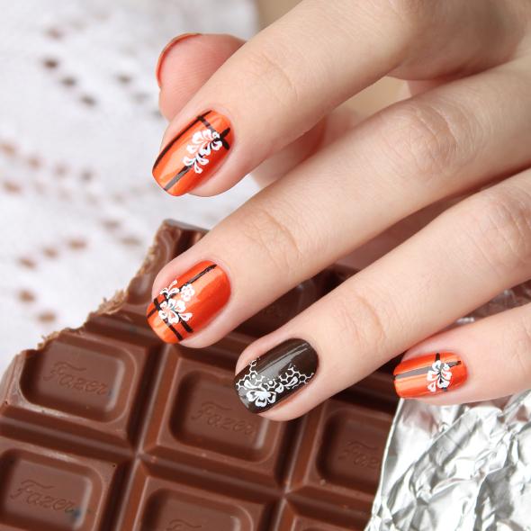 Orange brown nail art design